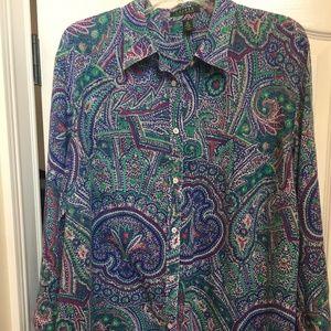 Ralph Lauren 3X Long Sleeve Blouse 100% Cotton